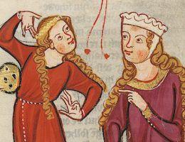 """Huczne zabawy nie były we wczesnym średniowieczu niczym wyjątkowym. Ilustracja z niemieckiego """"Kodeksu Manesse""""."""
