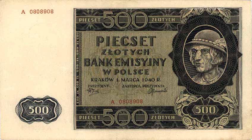 Okupacyjny banknot o nominale 500 zł, czyli tak zwany góral (źródło: domena publiczna).