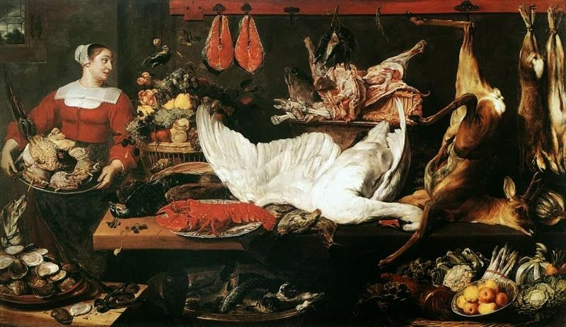 """W podobny sposób musiały wyglądać magnackie spiżarnie przed Wigilią (obraz Fransa Snydersa """"Spiżarnia"""", żródło: domena publiczna)."""