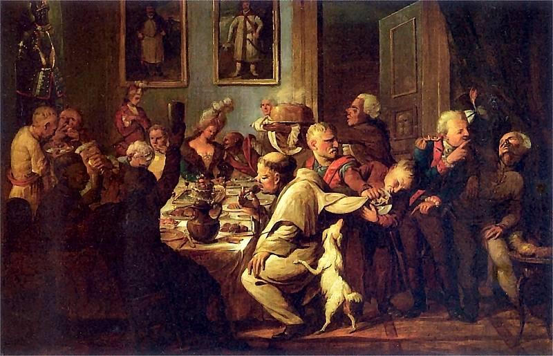 XVIII-wieczna uczta na dworze Radziwiłłów. Gorzałka leje się strumieniami (obraz Aleksandra Orłowskiego, źródło: domena publiczna).