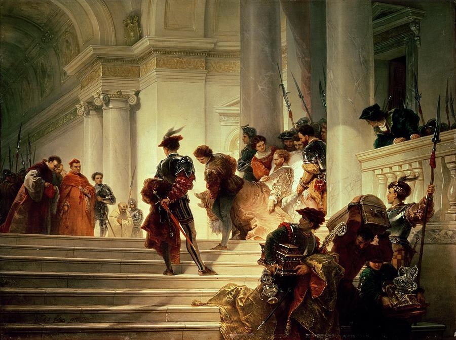 """Tak skończyły się wpływy Borgiów. Obraz Giuseppe Lorenza Gatteriego """"Cezar Borgia opuszcza Watykan"""" z 1877 roku (źródło: domena publiczna)."""