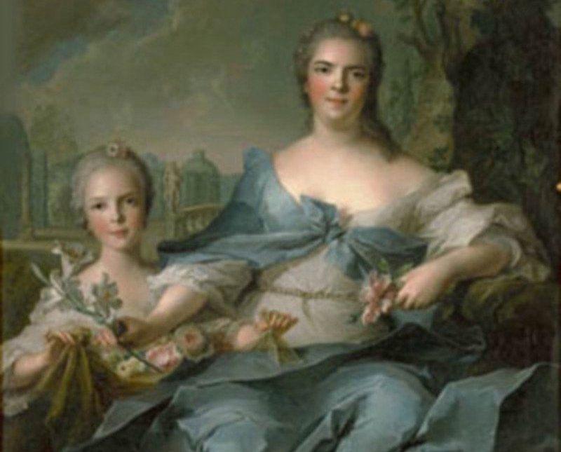 Dwie młode damy, które połączyła niezwykła więź - 21-letnia Ludwika Elżbieta i jej 7-letnia córka Izabela (obraz Jeana-Marca Nattiera, źródło: domena publiczna).