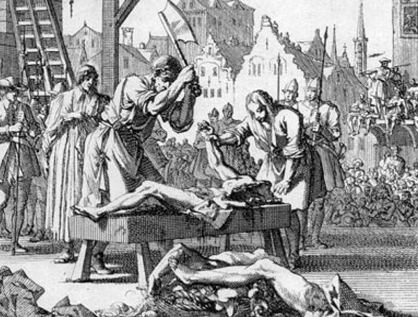 Dobra egzekucja nie mogła się obyć bez ćwiartowania półżywego ciała (na obrazie egzekucja Thomasa Armstronga w 1684 roku, domena publiczna).