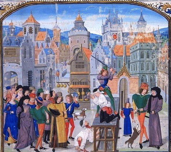 """Do ścięcia głowy często potrzebne było kilka ciosów katowskim mieczem... (obraz z """"Kronik"""" Froissarta, początek XV wieku, domena publiczna)."""