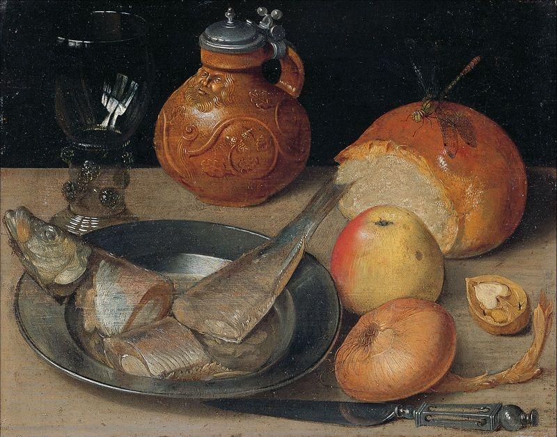 """Śledź także był przysmakiem na pańskich stołach (obraz Georga Fliegla """"Martwa natura ze śledziem"""", źródło: domena publiczna)."""