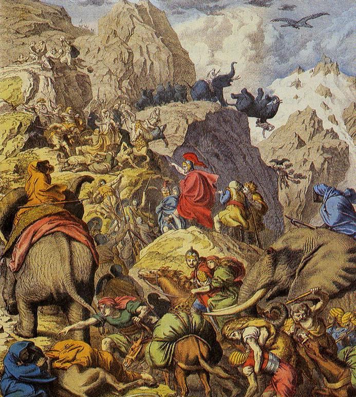 Hannibal i jego wesoła gromadka słoni przekraczają Alpy (źródło: domena publiczna).