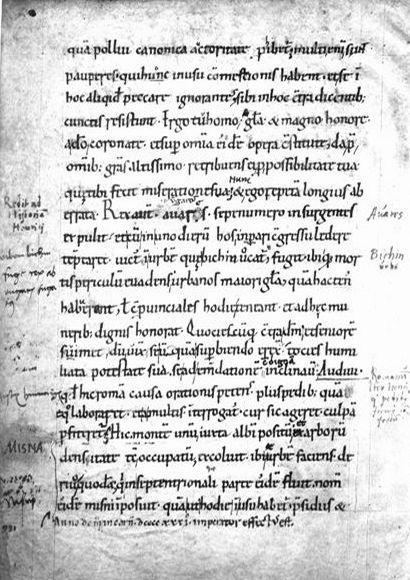 Najstarszą, ale i jedną wzmiankę o tym, że żona Mieszka miała na imię Dobrawa, możemy znaleźć w Kronice Thietmara. Na ilustracji jedna z jej stron (źródło: domena publiczna).