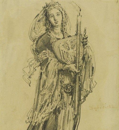 Prawdopodobna inspiratorka dobudowania kaplicy do pałacu. Dobrawa na ilustracji Jana Matejki (źródło: domena publiczna).