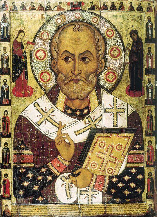 Jakim cudem Gall Anonim ani słowem nie nawiązał do postaci św. Mikołaja? Ikona św. Mikołaja z Miry z 1294 roku autorstwa Aleksego Pietrowa (domena publiczna).