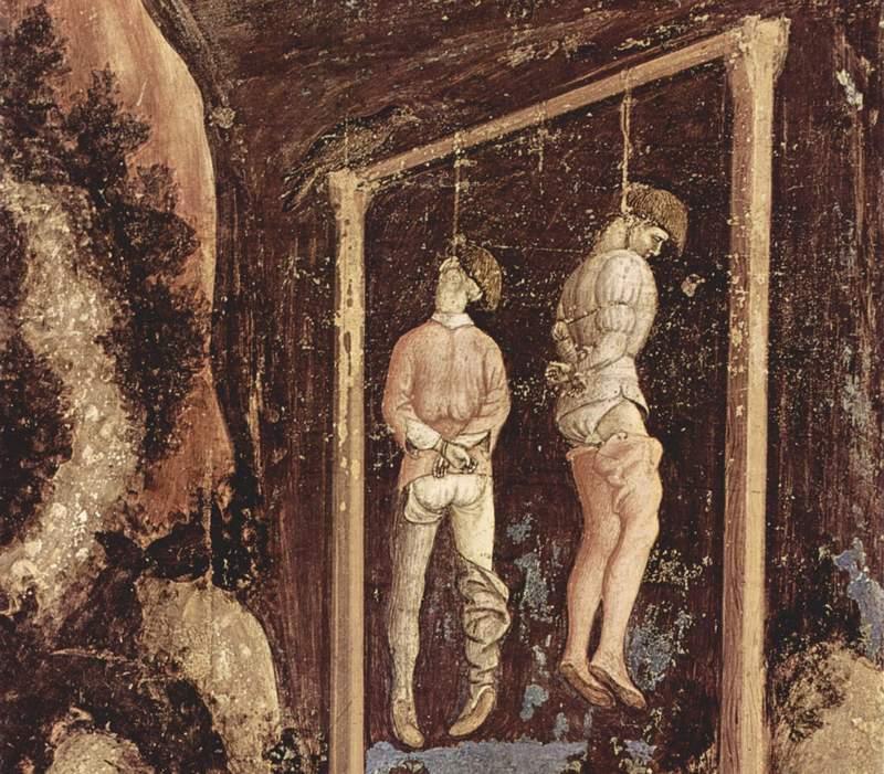 """Nieszczęsne, rozkładające się ciała nieraz wieszali dawni koledzy... (obraz Antonia Pisana """"Wisielcy"""" z XIV wieku, domena publiczna)."""