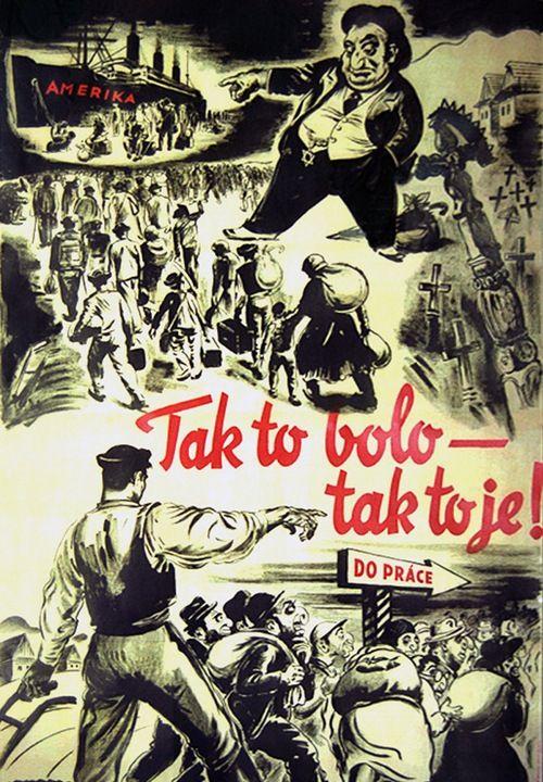 Właśnie takimi plakatami słowackie władze podsycały antysemityzm w społeczeństwie (źródło: domena publiczna).