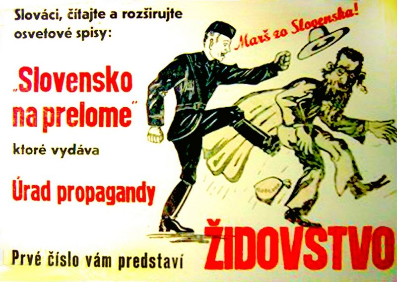 Kolejny przykład antysemickiej propagandy z okresu Słowacji księdza Tisy (źródło: domena publiczna).