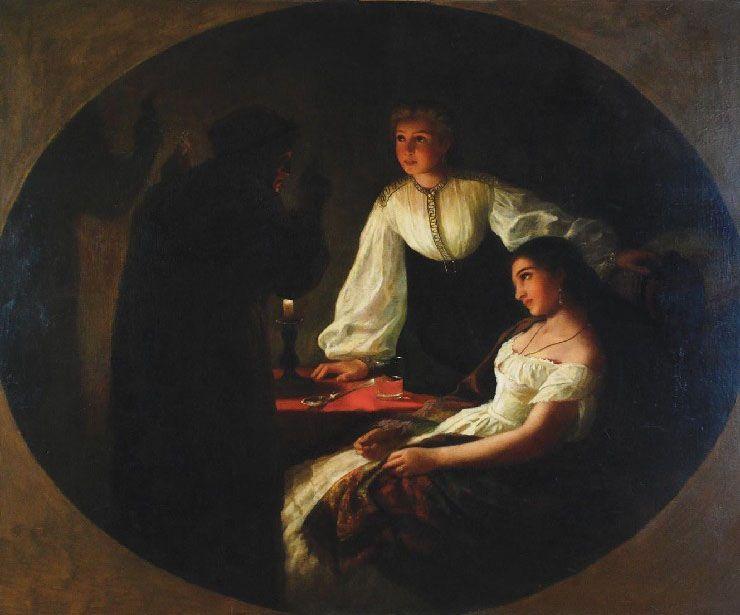 """Ostatnia noc w roku pod wieloma względami przypominała Andrzejki. Obraz Henryka Siemiradzkiego """"Noc Świętego Andrzeja"""" z 1867 roku (źródło: domena publiczna)."""