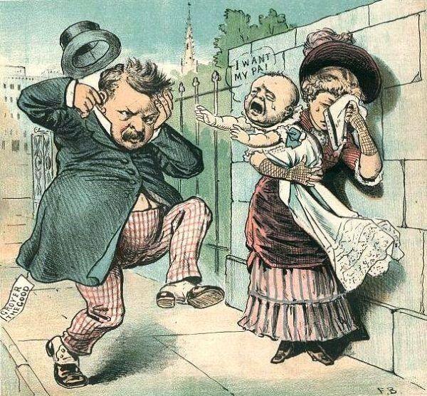 Preydent Grover Cleveland na politycznej karykaturze.