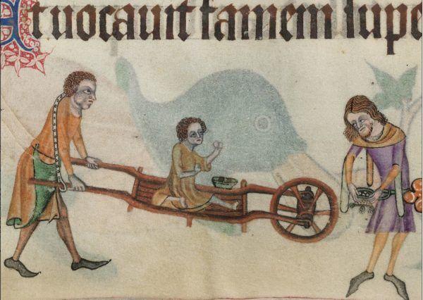 """To dziecko miało szczęście – ktoś się nim zaopiekował (il. z """"Psałterza Luttrella"""", XIV w.)."""