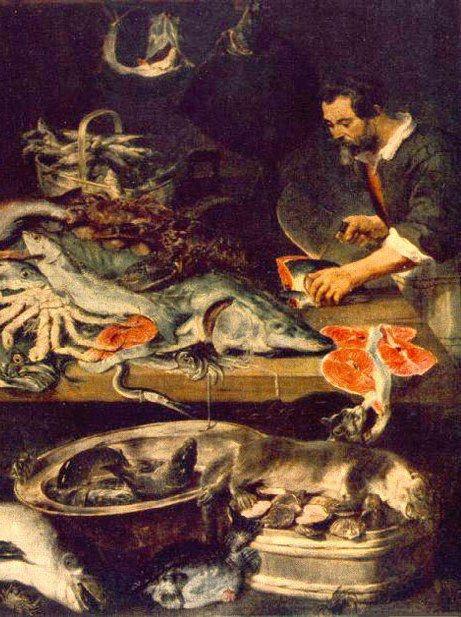 """Rybę trzeba najpierw przygotować... by potem cieszyć się jej korzennym smakiem (fragment obrazu Fransa Snydersa """"Sklep rybny"""", źródło: domena publiczna)."""