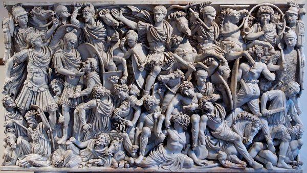 Walka Gotów z Rzymianami. Płaskorzeźba z III wieku n.e. (domena publiczna).