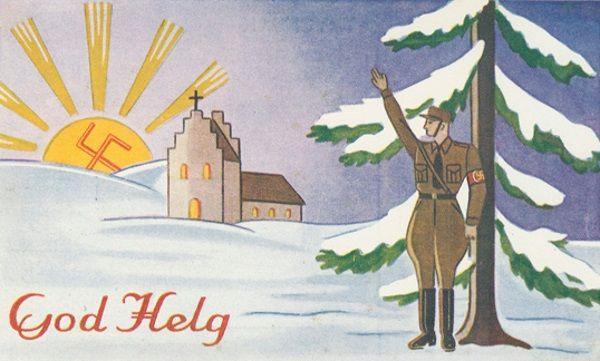 Nazistowska pocztówka propagandowa. Kiedy zwyczajni ludzie załamywali się wobec trudnej rzeczywistości, Trzecia Rzesza z pompą świętowała gwiazdkę.