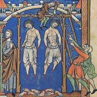 Średniowieczne egzekucje cechowały się sporą brutalnością... (obraz z Biblii Morgana z XIII wieku, domena publiczna).