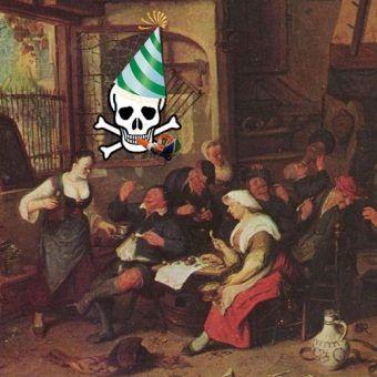 """Zabawa na całego... ze śmiercią w tle. Podstawa miniatury to obraz Cornelisa Dusarta """"Scena w karczmie"""", trupia czaszka i kapelusz z domeny publicznej, gwizdek autorstwa 1971markus, Asturius, lic. CC ASA 3.0 Germany)."""