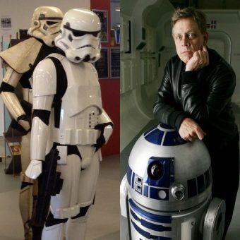 """Jak zainspirowali przyszłość? Po lewej szturmowcy z fanowskiego Legionu 501(fot. Kristianbang, lic. CC0), po prawej Mark Hamill (Luke Skywalker) z R2D2 na wystawie promującej """"Gwiezdne wojny"""" (źródło: materiały promocyjne książki """"Gwiezdne wojny. Jak podbiły wszechświat"""")."""