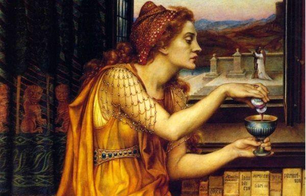 Bohaterka obrazu Evelyn De Morgan równie dobrze może wlewać do pucharu napój miłosny i śmiercionośną truciznę...