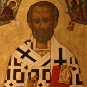 Czyżby Święty Mikołaj był kluczową postacią do ustalenia tożsamości Galla Anonima? Biskup Miry na rosyjskiej ikonie z przełomu XV i XVI wieku (Narodowe Muzeum w Sztokholmie /NMI 272/, fot. Bjoertvedt, lic. CC BY-SA 3.0).