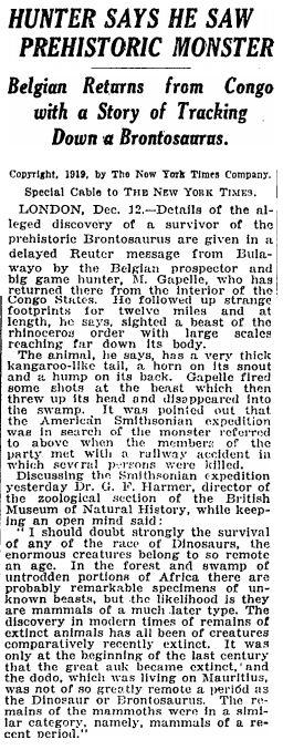 """Jak zawsze sceptyczny """"New York Times""""? Artykuł z 13 grudnia 1919."""
