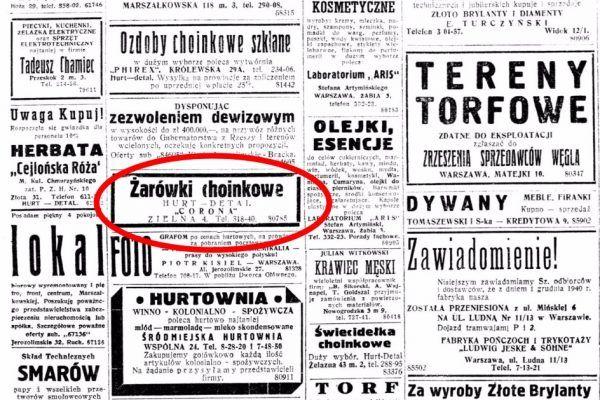 """Lampki można było bez problemu kupić nawet w samym środku II wojny światowej. Ogłoszenie z """"Nowego Kuriera Warszawskiego"""" z 1940 roku."""