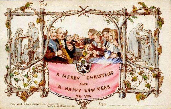 Pierwsza komercyjna kartka świąteczna z połowy XIX wieku. W Polsce takie druki miały niemały wpływ na upowszechnienie się nowych ozdób choinkowych...
