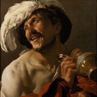 """Z alkoholem nie zawsze bywało tak radośnie. Obraz """"Wesoły pijak"""" pędzla Hendricka ter Brugghena z 1625 roku, źródło: domena publczna."""