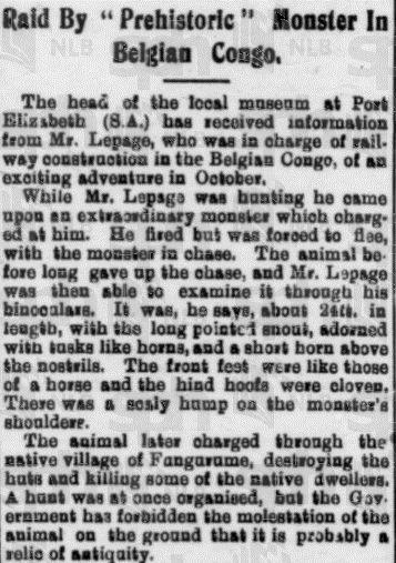 Prasa traktowała doniesienia o prehistorycznych stworach z zupełną powagą... (The Straits Times, 29 grudnia 1919).