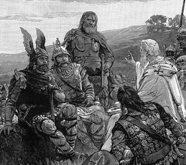 Romantyczne wyobrażenie gockich wojowników. XIX-wieczna ilustracja.