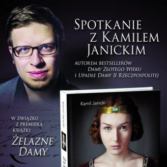 """Kamil Janicki wraz z """"Żelaznymi Damami"""". Fragment plakatu promującego spotkanie."""