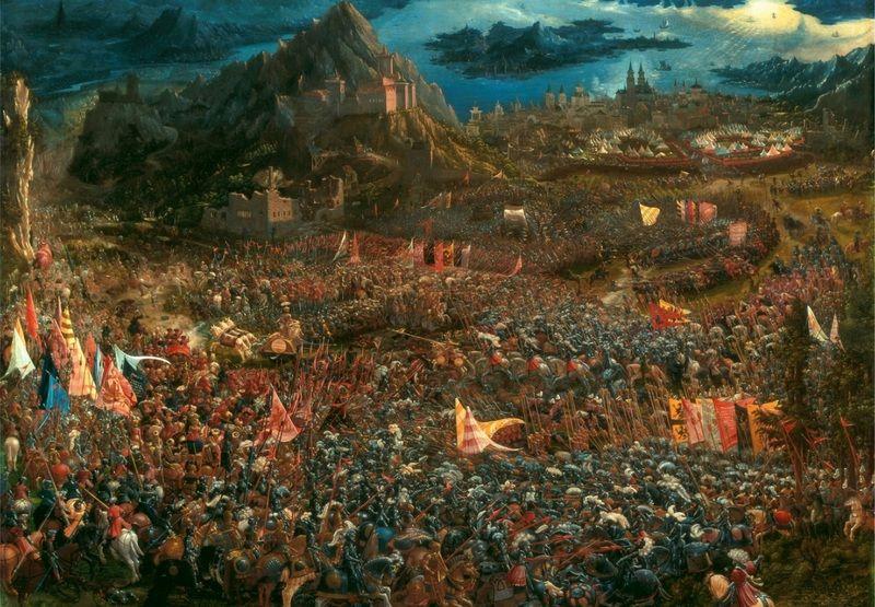 Pokonanie wojska Dariusza III pod Issos otwarło Aleksandrowi drogę do Egiptu. Na ilustracji bitwa na obrazie autorstwa Albrechta Altdorfera (źródło: domena publiczna).