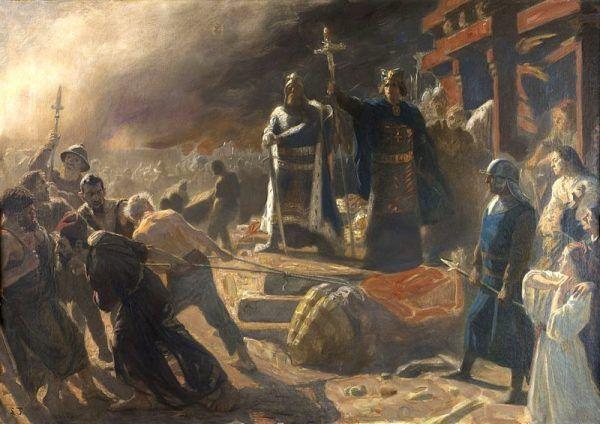 Zniszczenie Arkony - duński biskup Absalom niszczy posąg Świętowita (XIX-wieczny obraz Lauritsa Tuxena, źródło: domena publiczna).