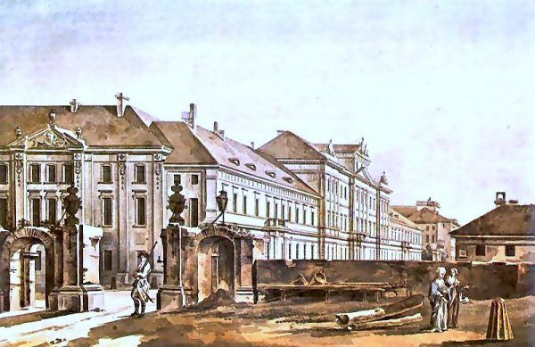 Nauka Marcina Lubomirskiego zaczęła się całkiem niepozornie - od Collegium Nobilium. Akwarela Zygmunta Vogla z 1788 roku (źródło: domena publiczna).