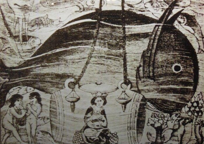 Aleksander Wielki w dzwonie nurkowym. Grafika prezentowana w Narodowym Muzeum Morskim w Gdańsku (fot. Dariusz Kaliński).