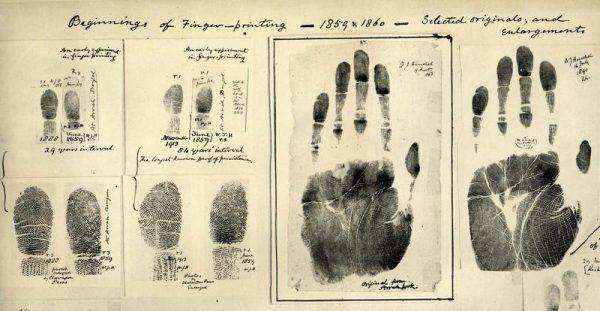 Te odciski palców, zebrane 150 lat temu, wciąż można oglądać. Ale ślady dotyczące sprawy Jaroszewiczów wyparowały... (źródło: domena publiczna).