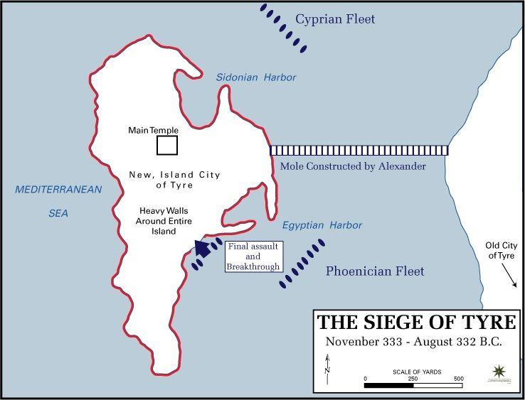 Dopiero zgromadzenie odpowiedniej floty przeważyło szalę zwycięstwa na stronę Aleksandra. Na ilustracji mapa przedstawiająca oblężenie Tyru autorstwa Franka Martiniego z Department of History, United States Military Academy (źródło: domena publiczna).