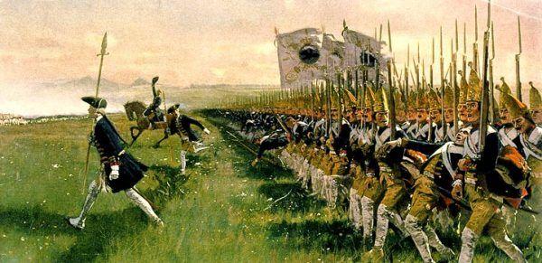 Lubomirskiemu wcale nie robiło różnicy, czy walczy po stronie pruskiej, czy ją łupi... Na obrazie atak pruskiej piechoty podczas bitwy pod Dobromierzem w 1745 roku (autor: Carl Röchling, domena publiczna).