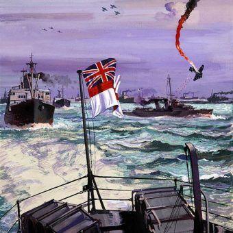 Fragment brytyjskiego plakatu propagandowego z okresu II wojny światowej, przedstawiającego konwój płynący do Murmańska (źródło: domena publiczna).