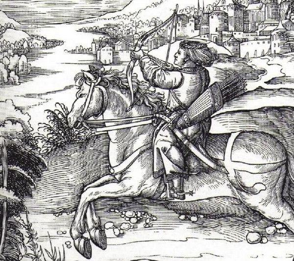 A łucznictwo wydawało się takim bezpiecznym hobby... Drzeworyt Albrechta Dürera przedstawiający polującego księcia Maksymiliana Habsburga (źródło: domena publiczna).