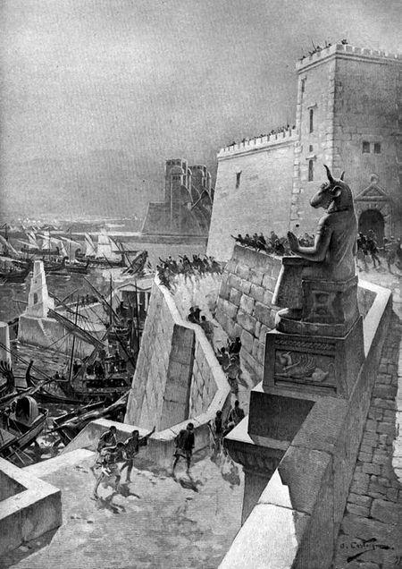 Mieszkańcy Tyru byli pewni, że grube mury zapewnią im bezpieczeństwo (źródło: domena publiczna).