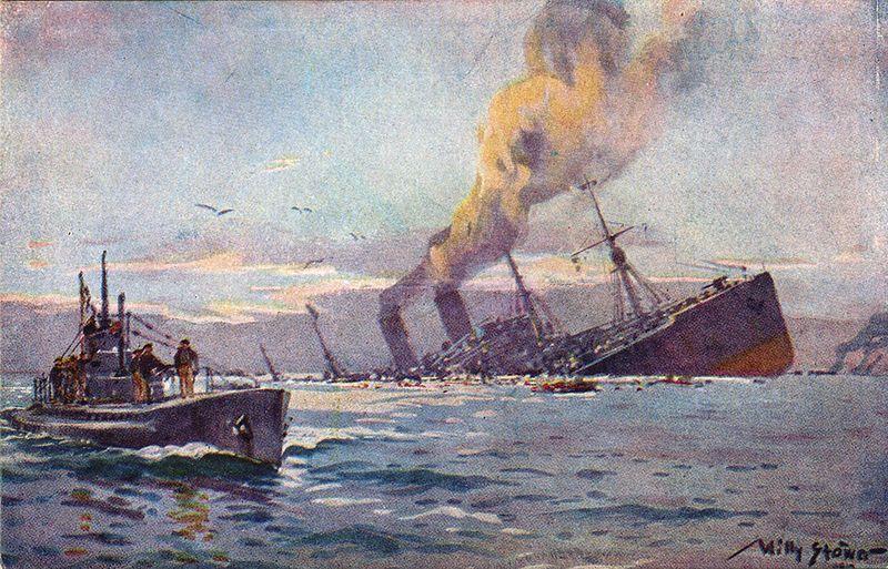 Kolejna ofiara U-boota idzie na dno. No i jak tu walczyć z takim przeciwnikiem? Na ilustracji obraz Willy'ego Stöwera (źródło: domena publiczna).