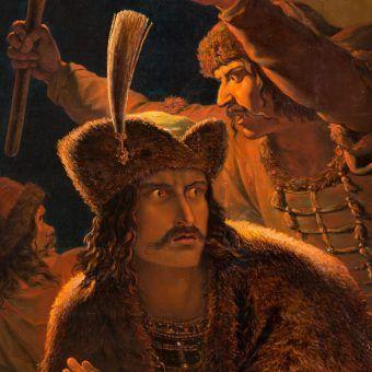 Bratobójca Bolesław ucieka zmiejsca zbrodni. XIX-wieczny obraz Antona Pettera.