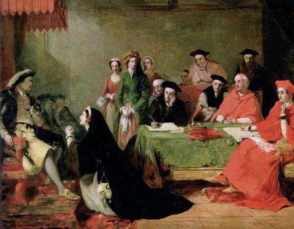 Henryk był bezlitosny dla swoich żon... oraz próżnujących sług, Obraz Henry'ego Nelsona O'Neilla (źródło: domena publiczna).