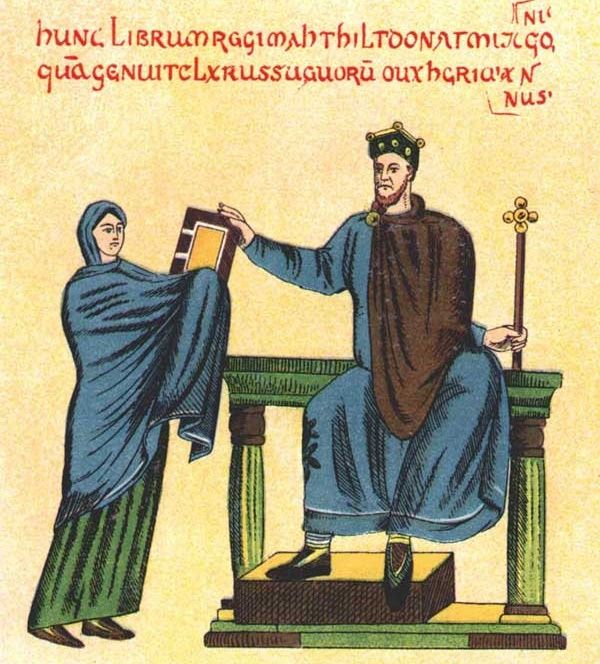 Odrys zaginionej miniatury z tak zwanego Kodeksu Matyldy. Na ilustracji: księżna szwabska i król Mieszko II.