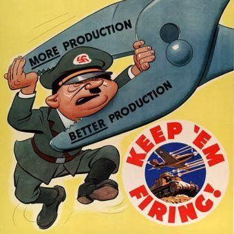 Fragment amerykańskiego plakatu propagandowego z czasów II wojny światowej.