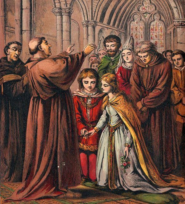Dziewczynka i chłopiec na ślubnym kobiercu. Wciąż odruchowo przyjmujemy, że właśnie tak to wyglądało przed tysiącleciem...